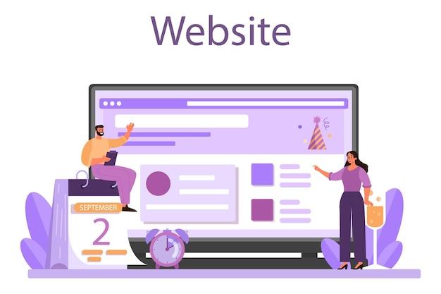 Онлайн-сервис управления событиями или векторная иллюстрация платформы