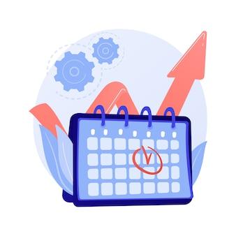 イベント管理。パフォーマンス効率、時間の最適化、リマインダー。タスクとプロジェクトの締め切りフラットデザイン要素。コンセプトイラストを思い出させる予定日