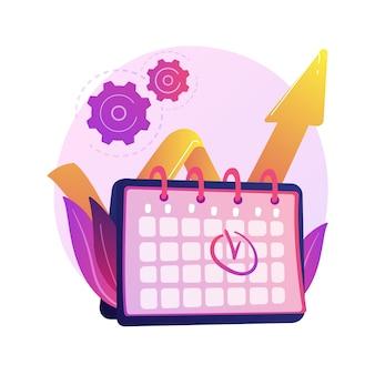 イベント管理。パフォーマンス効率、時間の最適化、リマインダー。タスクとプロジェクトの締め切りフラットデザイン要素。予定日を思い出させる。
