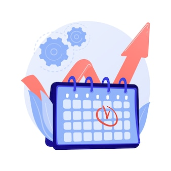 Gestione di eventi. efficienza delle prestazioni, ottimizzazione dei tempi, promemoria. elemento di design piatto di scadenza di attività e progetto. data dell'appuntamento che ricorda l'illustrazione di concetto