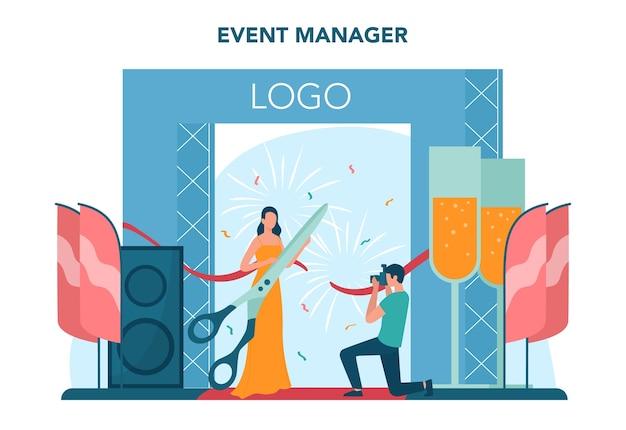 イベントマネージャーまたはサービスの概念。お祝いや会議の組織。事業のためのpr会社の計画。創造的な現代の職業。