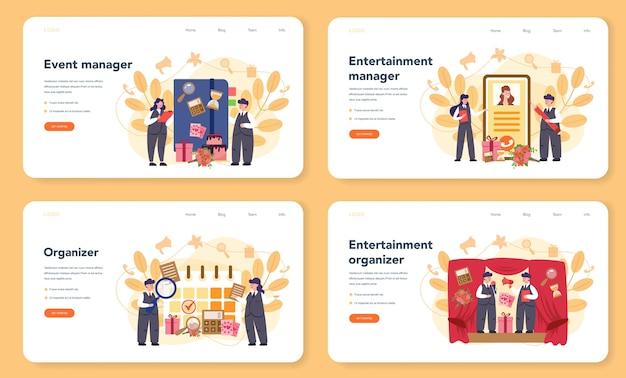 이벤트 관리자 또는 서비스 웹 배너 또는 방문 페이지 세트. 축하 또는 회의 조직. 사업을위한 홍보 기업 기획. 창의적인 현대 직업.