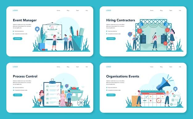 Менеджер событий или сервисный веб-баннер или целевая страница. организация праздника или встречи. планирование pr-компании для бизнеса. творческая современная профессия.