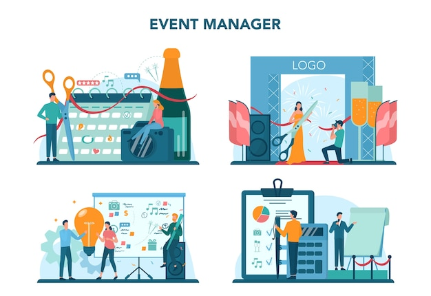 Event manager or service concept set. celebration or meeting organization. planning of pr company for business. creative modern profession. isolated vector illustration