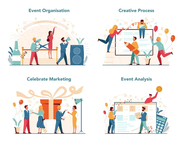 Event manager or service concept set. celebration or meeting organization. planning of pr company for business. creative modern profession.