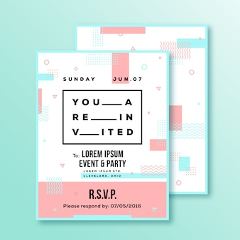 Event, party, wedding invitation card or poster template. modern abstract flat swiss style background with decorative stripes, zig-zags and typography. red, blue colors. soft realistic shadows.