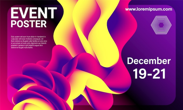 Event poster. party background. fluid flow.