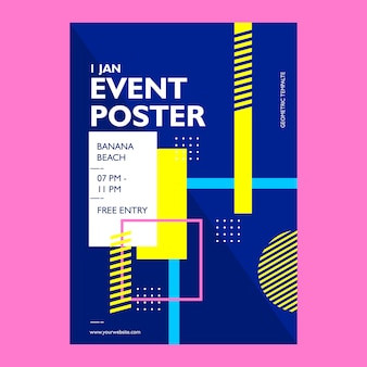 Event poster template with geometric shape