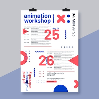 Event programming poster template with small shapes