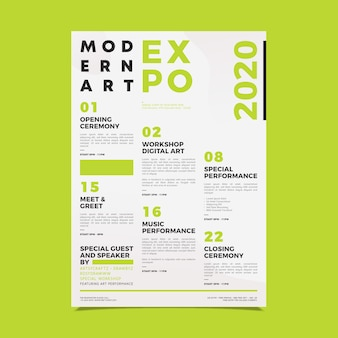 Modello di poster per la programmazione di eventi