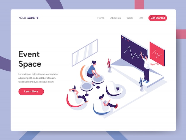 Event space banner concept for website page