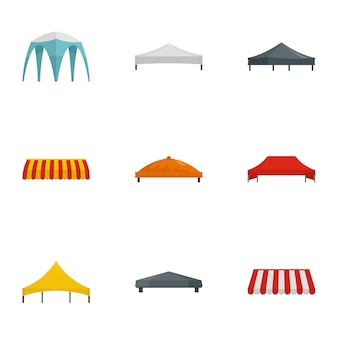 Event tent icon set, flat style