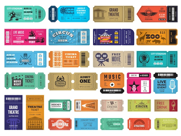 Event tickets. circus cinema theatre sport event entrance invitation coupon concert admission templates. illustration admission ticket to entertainment show or sport