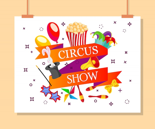 Билеты на мероприятие для магического шоу в мультяшном стиле с флагами цирковых палаток