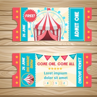 Event tickets for magic show in cartoon style with circus tent flags and editable text