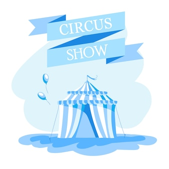 Event tickets for magic show in cartoon style with circus tent flags