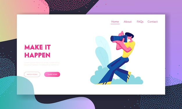 Event or wedding photographer holding photo camera and photographing. creative profession or occupation, man take photo shot. website landing page, web page. cartoon flat vector illustration