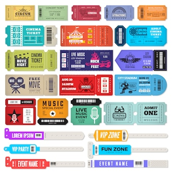 Events bracelet. entrance key for music party wristbands admission tickets design template