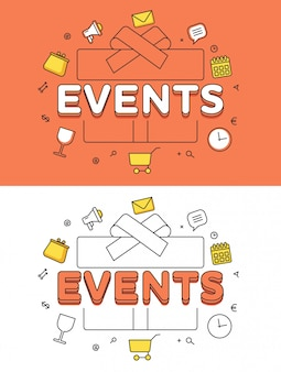 Events word over gift box and icons hero image linear illustration