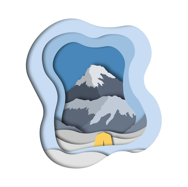 Everest mountain base camp. paper art style.