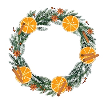 Evergreen branches red berries orange slices frame with place for date inscription text