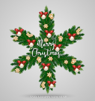 Evergreen christmas wreath in form of snowflake