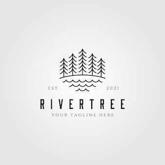 Evergreen pine tree line art nature logo
