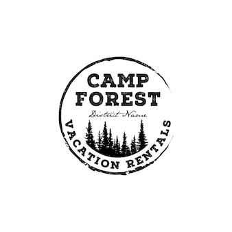 Evergreen pines tree outdoor adventure camp. forest vintage retro rustic hipster stamp logo design