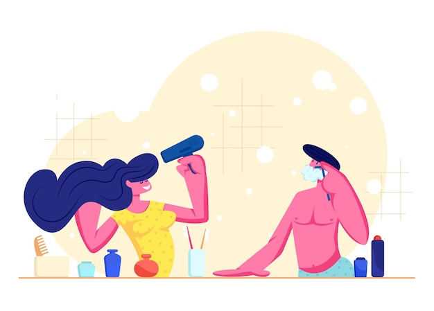 Ежедневный распорядок, гигиена. влюбленные утренние процедуры. девушка сушит волосы веером, мужчина бреется, стоя перед зеркалом в ванной вместе