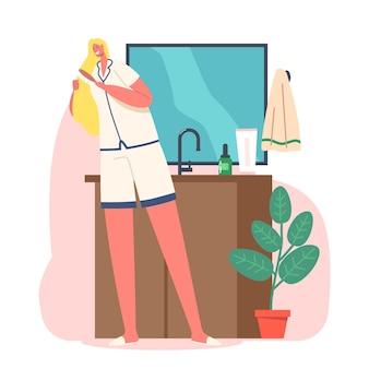 매일의 일상, 아침 위생 절차 개념. 젊은 사랑스러운 여성은 목욕이나 샤워를 한 후 브러시로 긴 머리를 빗고 욕실 거울 앞에 서 있습니다. 만화 벡터 일러스트 레이 션
