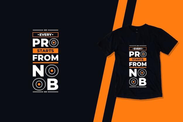 Каждый профессионал начинается с дизайна футболки с современными геометрическими цитатами noob