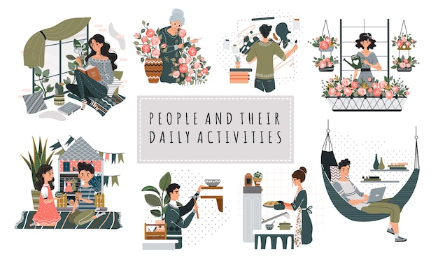 Everyday housework domesticity hobby activity cartoon people characters  illustration.
