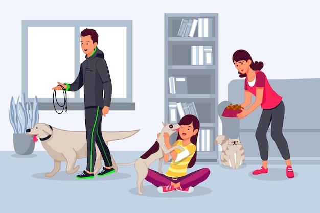 Бытовая сцена с домашними животными
