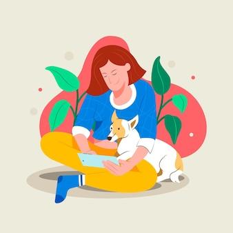 개와 소유자와 애완 동물 개념 매일 장면