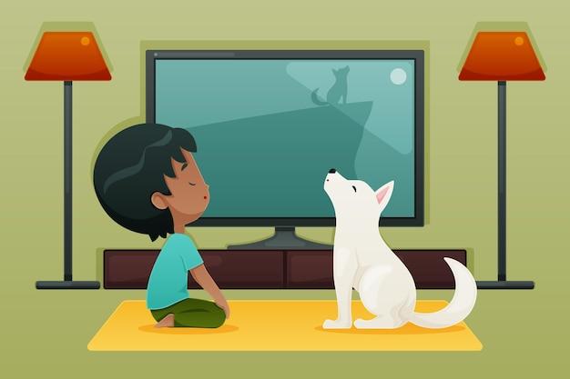 강아지와 함께 애완 동물 개념으로 매일 장면