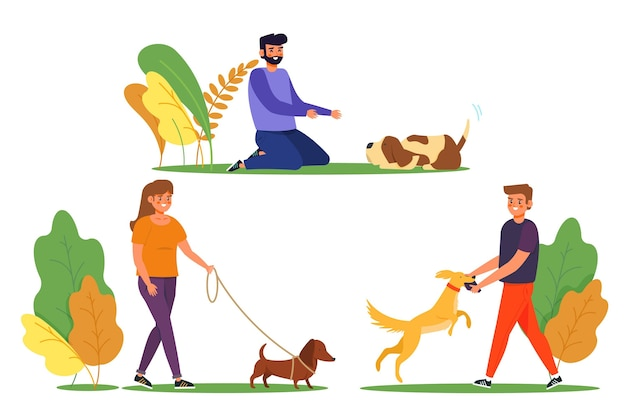 Everyday scenes with pets concept with dogs collection
