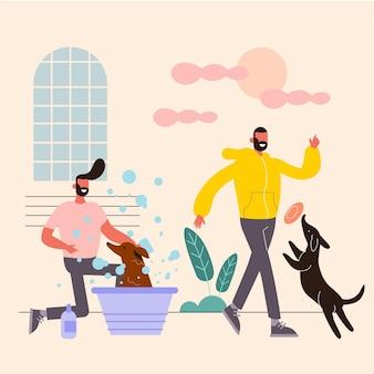 犬と一緒にペットのコンセプトがある日常のシーン