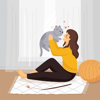Everyday scenes with pets concept