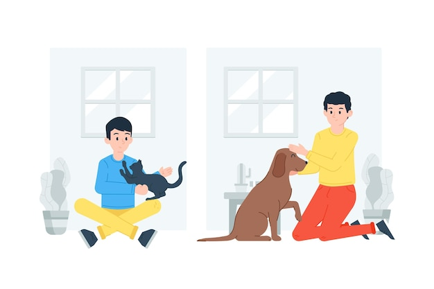 Бытовые сцены с концепцией домашних животных