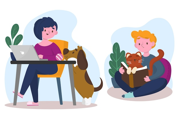 Everyday scenes with pets illustration