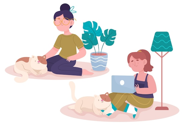 Everyday scenes with women and pets
