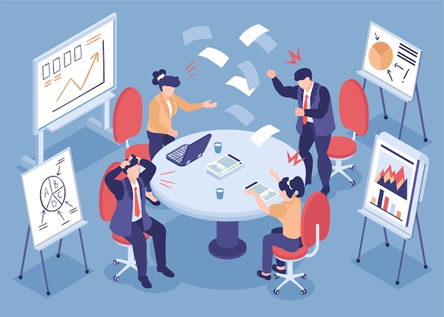 Everyday stress isometric illustration with emotional employees expressively discussing business problem in office
