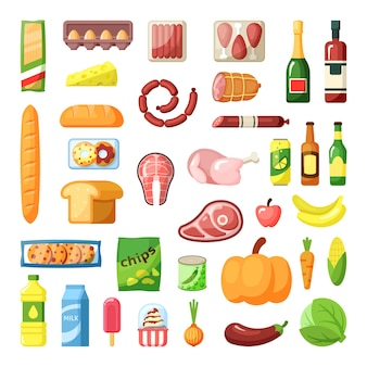 Everyday supermarket food items assortment flat set. meal ingridients. eatable goods. grocery. meat, dairy and baked poducts. fruit, vegetables and beverages detailed icons