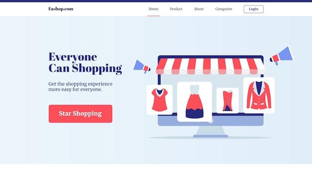 Каждый может купить коллекцию комплектов одежды в магазине электронной коммерции с экраном компьютера