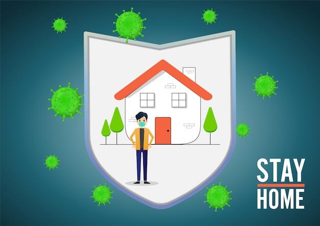 Каждый носит медицинскую маску и сам дома. пандемия коронавируса и социальное дистанцирование. оставаться дома с самокарантином.