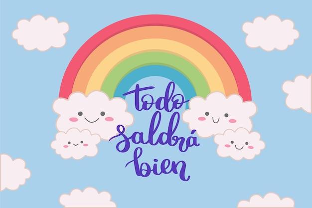 Andrà tutto bene scritte in spagnolo con arcobaleno