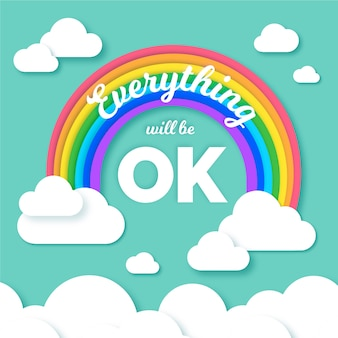 Everything will be ok lettering with colorful rainbow