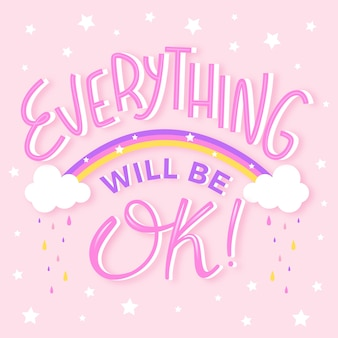 Everything will be ok lettering with rainbow