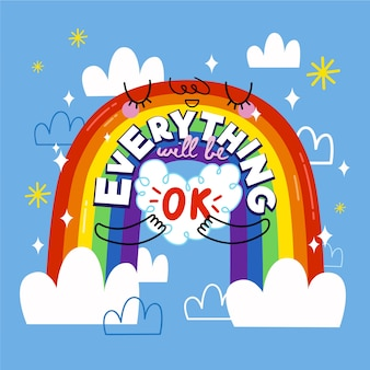 Everything will be ok lettering with a rainbow