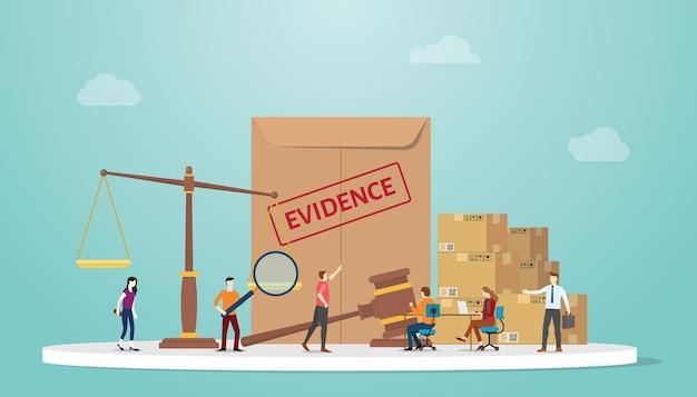 文書紙とスケールと人々と現代のフラットとガベルの証拠の概念